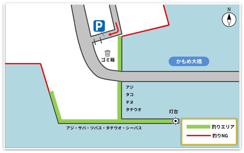 かもめ大橋釣り場のマップ