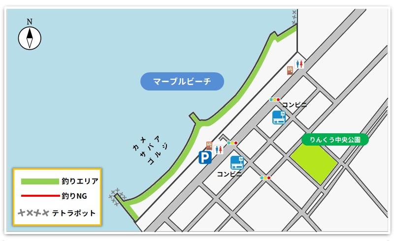 マーブルビーチ釣り場のマップ