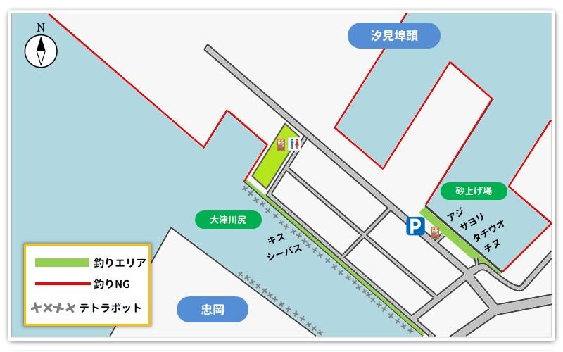 汐見埠頭釣り場のマップ