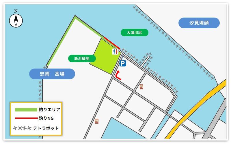 忠岡高場の釣り場のマップ